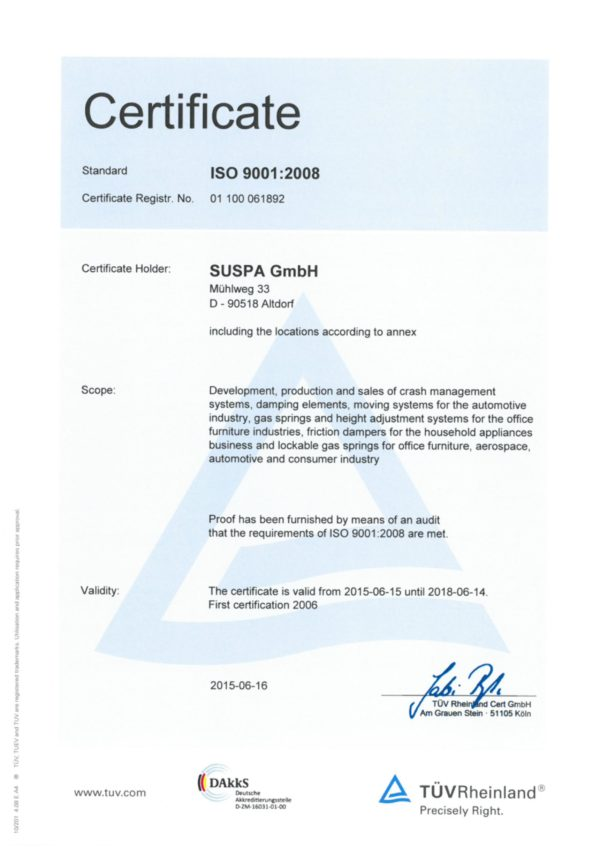 Купить газ-лифты Suspa (Германия) для механизма 582, корпусной мебели, стола, кухни, шкафа, кровати