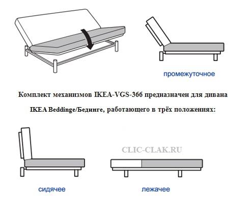 Купить механизм трансформации Клик Кляк для дивана икеа бединге IKEA Beddinge Левос, Эксарби Оригинал. Трехпозиционный, усиленный замок икея