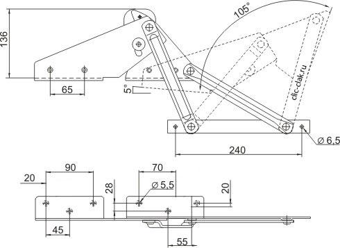 Купить механизм подъёма для дивана №358 книжка с углом полкой