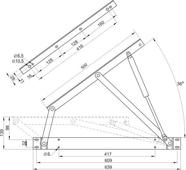 Купить механизм подъема основания кровати, дивана МПК 559 500