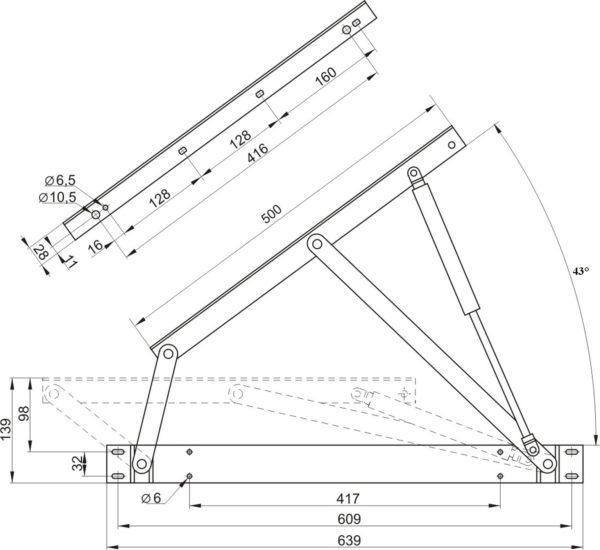 купить подъемный механизм для кровати с газ-лифтами размеры фото ОЗМФ Комкор МПК № 500 559 503